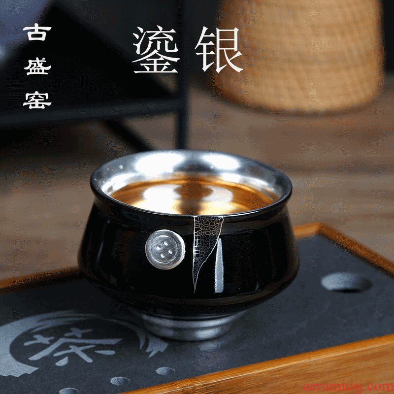 The ancient new silver tea set variable coarse pottery kung fu sheng up cups individual cup single cup sample tea cup coppering. As zen cup