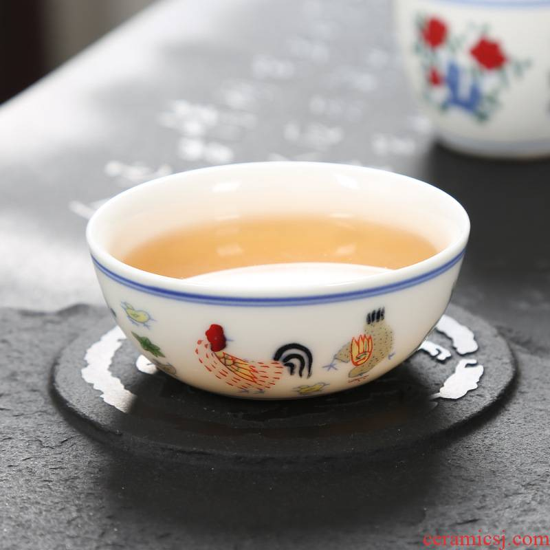 Chicken cylinder cup noggin master of jingdezhen Chicken hand - made color bucket cylinder cup archaize kung fu tea sample tea cup