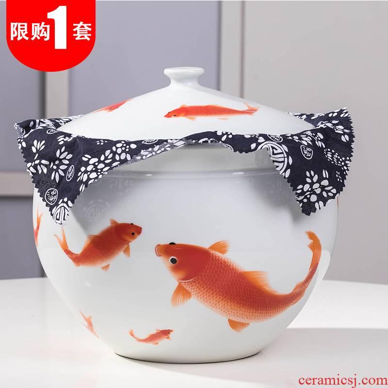 Jingdezhen ceramic tea pot large porcelain store receives seven pu 'er tea cake tin, household seal and POTS