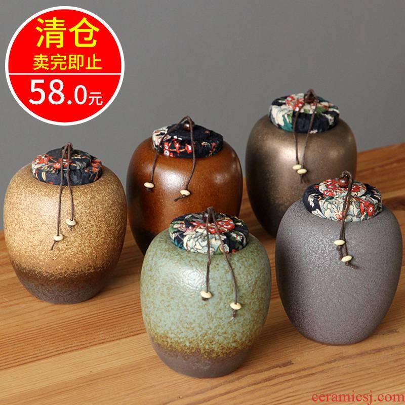 Jingdezhen ceramic tea pot size coarse pottery store caddy fixings tea box household seal up POTS of tea boxes