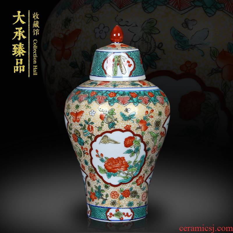 Jingdezhen antique Chinese trumpet hand - made pastel open places the general pot of furnishing articles rich ancient frame vase mesa adornment
