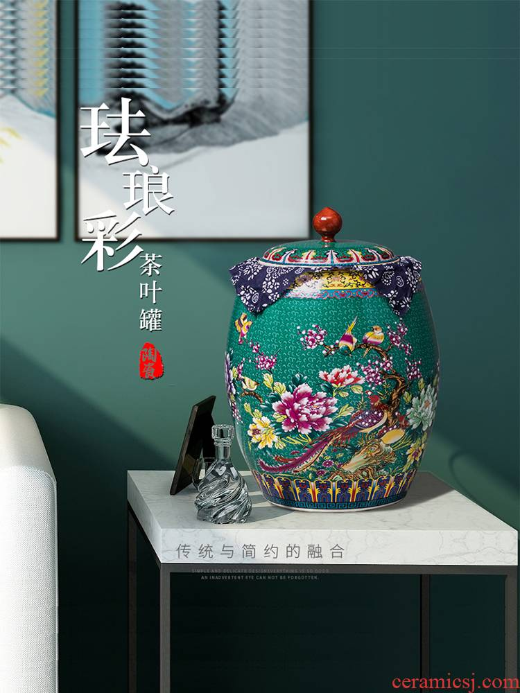 Large porcelain tea pot ceramic business gifts storage tank receives puer tea cake box of tea urn jar