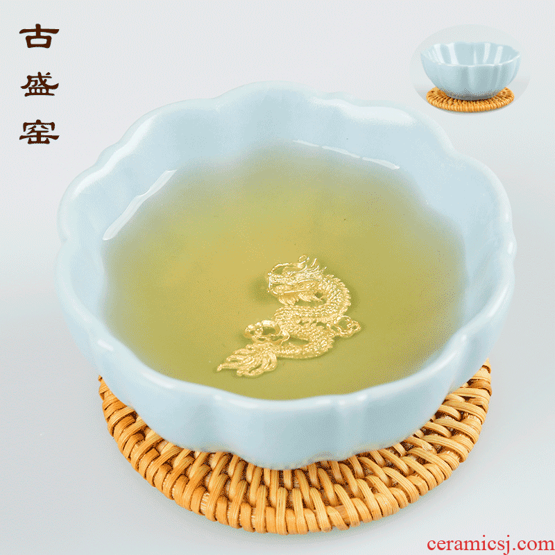 Ancient sheng up new lotus open the slice your up ceramic inlaid with silver whitebait tea cup sample tea cup, bowl built single CPU