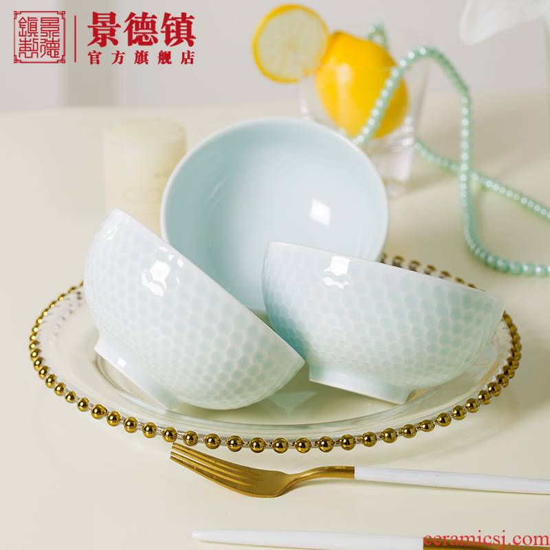 Jingdezhen flagship shops eat with ceramic bowl individual household contracted pure color bowl of individuals dedicated to eat bread and butter