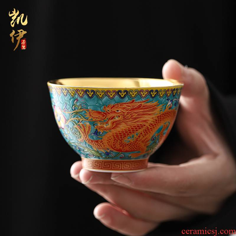 Gold enamel lamp that jingdezhen ceramic checking sample tea cup Gold master kung fu tea tea cup ceramic cups