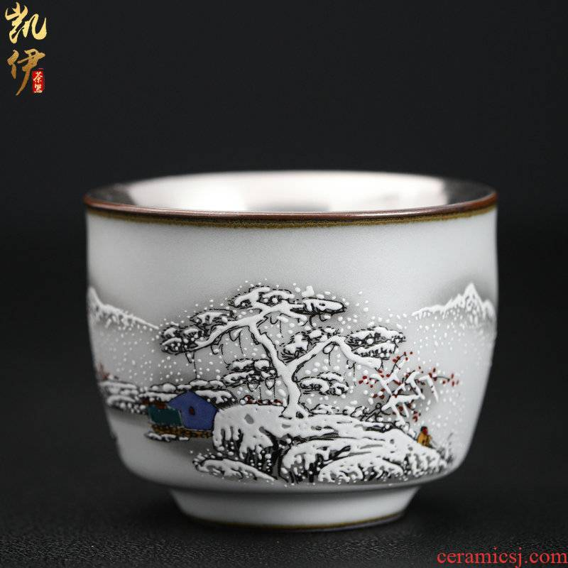 Tasted silver gilding on your up hand - made master kung fu tea cup sample tea cup jingdezhen ceramics snowflakes cup silver cup