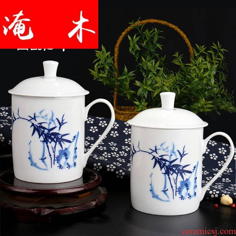 Submerged wood jingdezhen cup glass office with cover of blue and white porcelain teacup tea cups