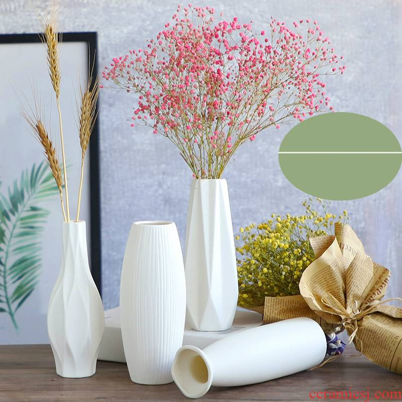 The white ceramic bottle of I and contracted day pattern sitting room place, creative home decoration flower pot flower flower