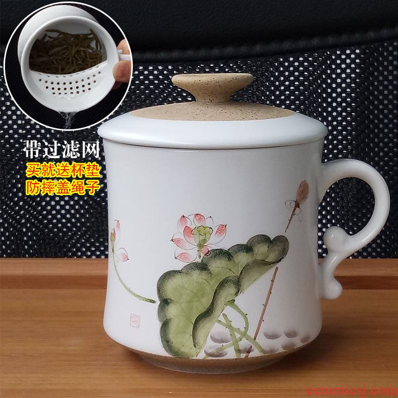 Jingdezhen ceramic cups with cover filter glass household glass master cup separation office cup tea tea cup