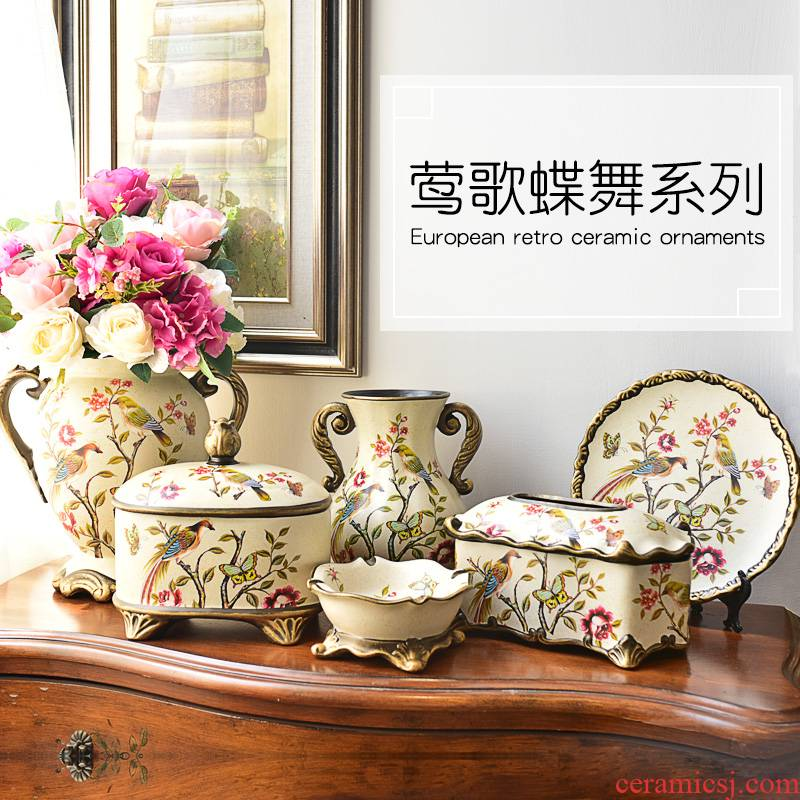Ceramic vase furnishing articles artical restoring ancient ways is the sitting room of TV ark, wine porch home flower adornment ornament
