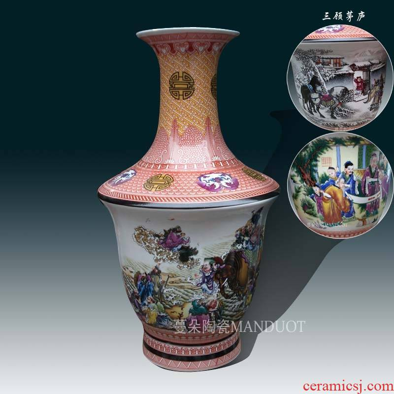 Jingdezhen classical flow shoulder mesa of of primitive simplicity display vase 18 arhats of three mesa vase 60 cm