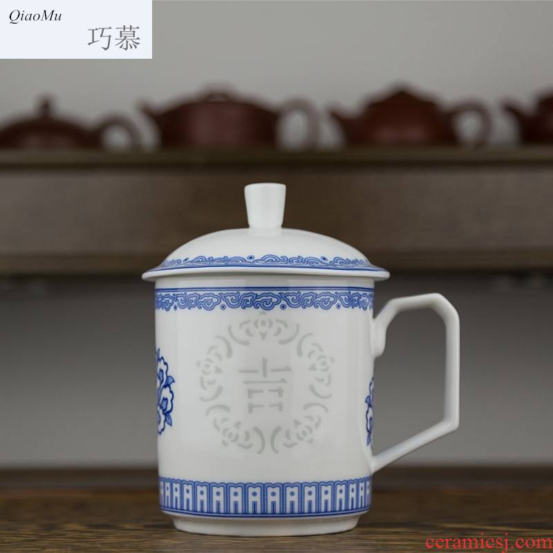 Qiao mu package mail jingdezhen ceramic cups with cover tea cup office cup meeting water cup blue and white hollow out porcelain tea set