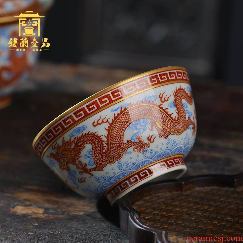 Jingdezhen ceramic hand - made alum red paint dragon playing bead masters cup kung fu tea cup tea cup bowl