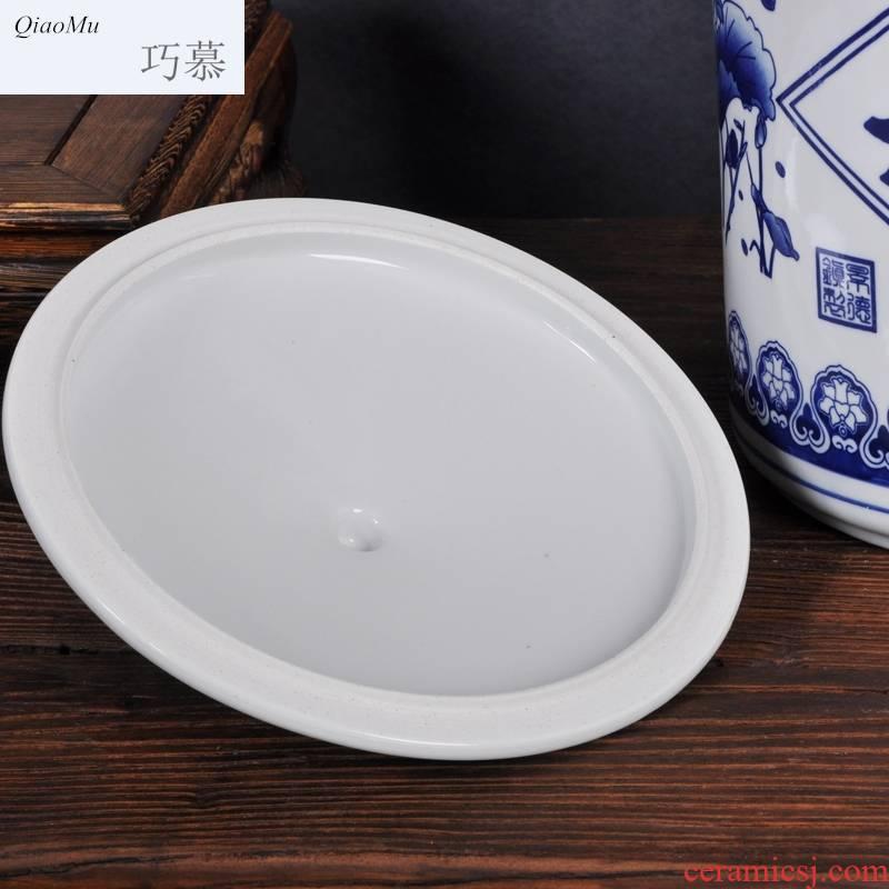 Qiao mu ceramic barrel ricer box pot of tea cake flour cylinder cylinder tank moistureproof insect - resistant receive tank seal storage