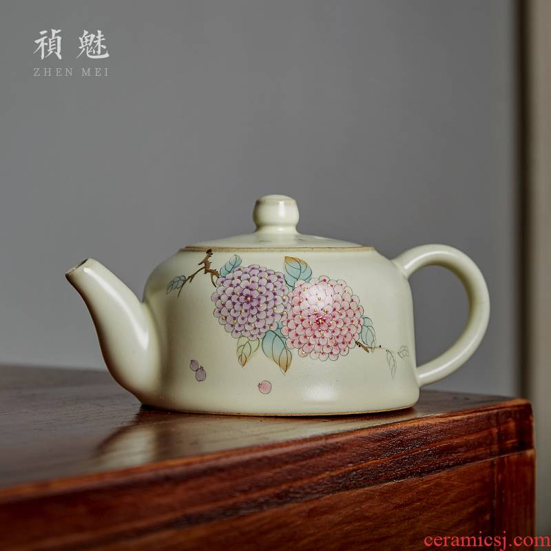 Shot incarnate your up hand - made hydrangea jingdezhen ceramic teapot kung fu tea set household slicing can be a teapot