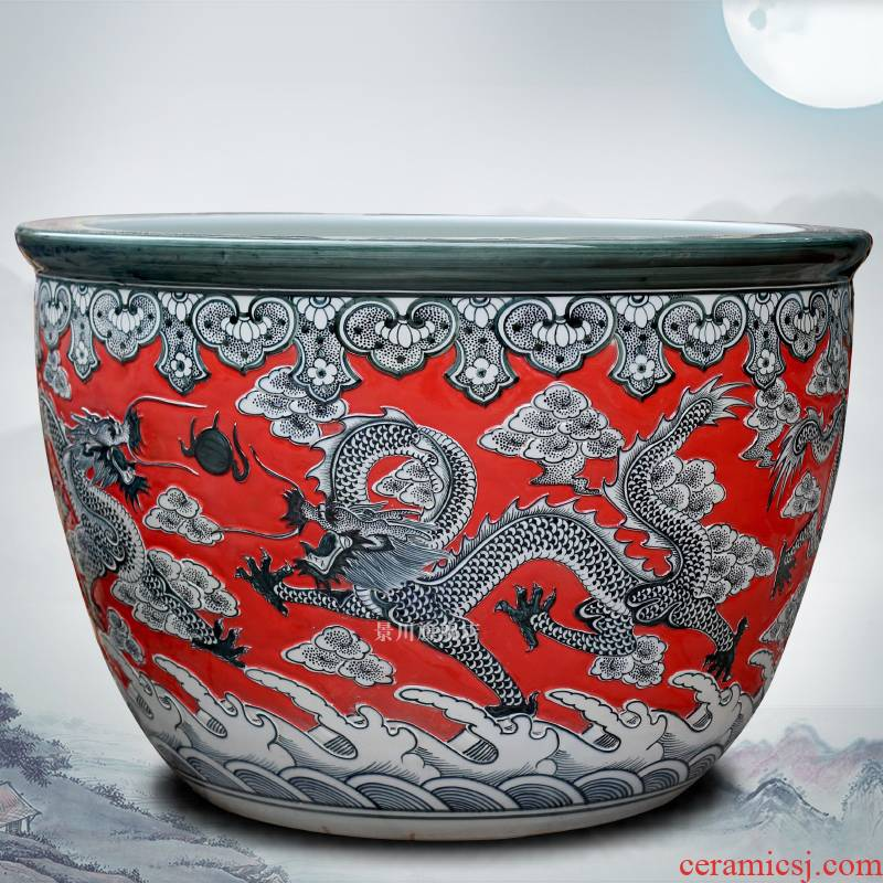Jingdezhen ceramics carved dragon aquarium red glaze same tank as the tortoise bowl lotus lotus cylinder the yard furnishing articles
