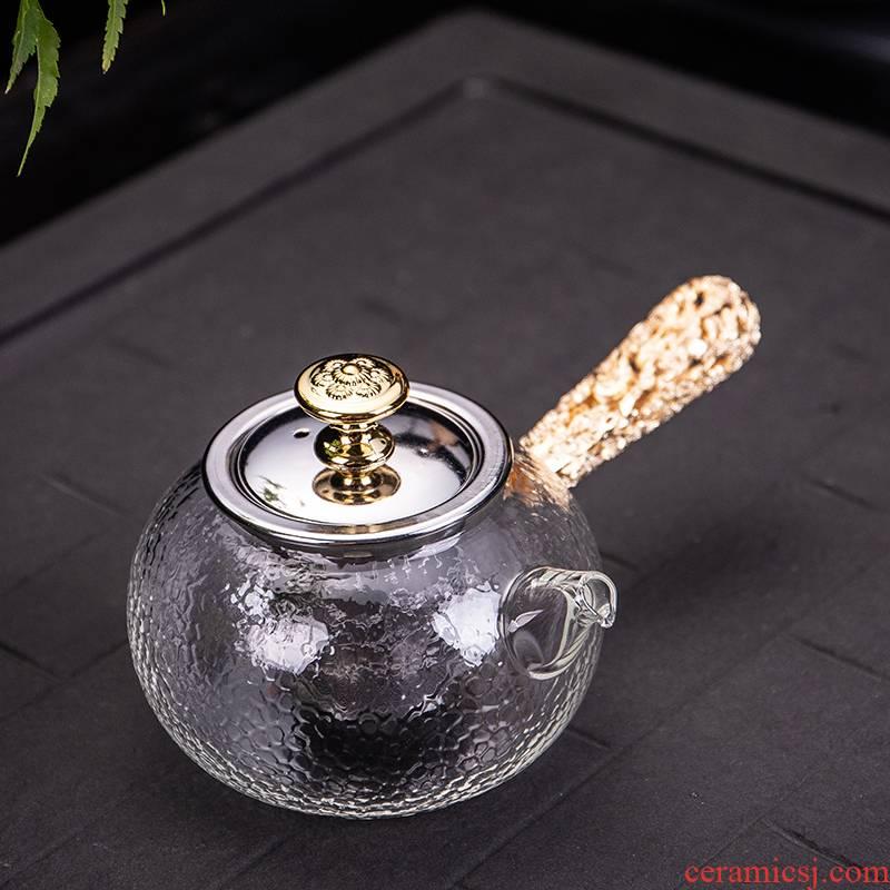 Ya xin company hall, crystal glass paint side the pu - erh tea teapot the boiled tea, the electric TaoLu hammer kung fu tea set