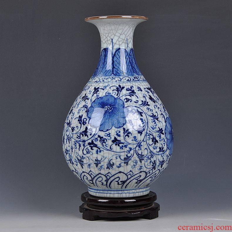Jingdezhen ceramics classic hand - drawn under glaze color archaize up porcelain vase porch decoration handicraft furnishing articles