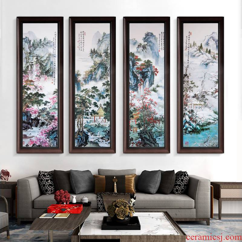 Jingdezhen porcelain plate painting ceramic painting landscape corridor of new Chinese style dining - room sitting room adornment sofa setting wall hang a picture