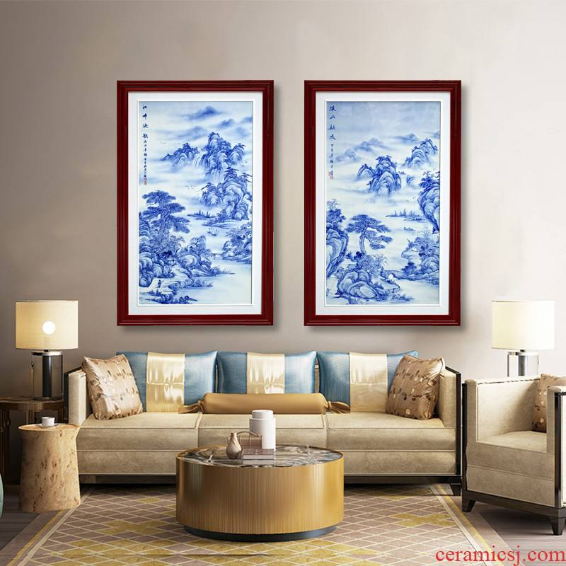 Jingdezhen blue and white porcelain painting landscape painter porcelain plate in the sitting room adornment of modern study background wall to hang a picture