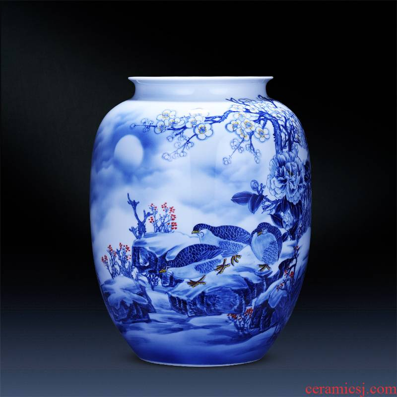 Jingdezhen ceramics hand - made of blue and white porcelain vase a snow harvest idea gourd bottle of home sitting room adornment is placed