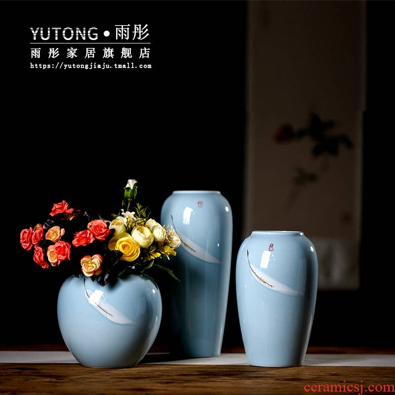 Jingdezhen I and contracted creative ceramic vase light key-2 luxury north European dried flower adornment furnishing articles sitting room ceramic vase