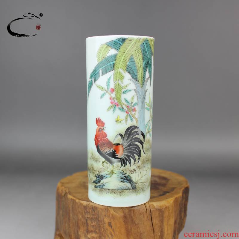 Cherished and auspicious jing DE famille rose promenading brush pot jingdezhen hand - made ceramic four treasures pen container furnishing articles