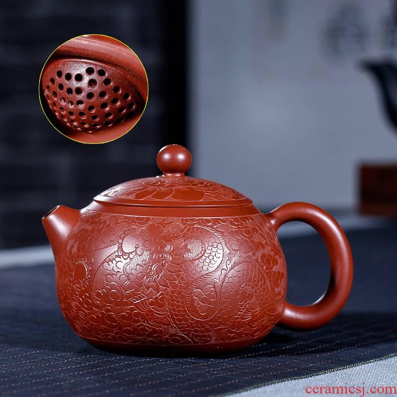 Yixing purple sand ore dahongpao 200 ml hand in extremely good fortune xi shi pot ball hole water tea sets