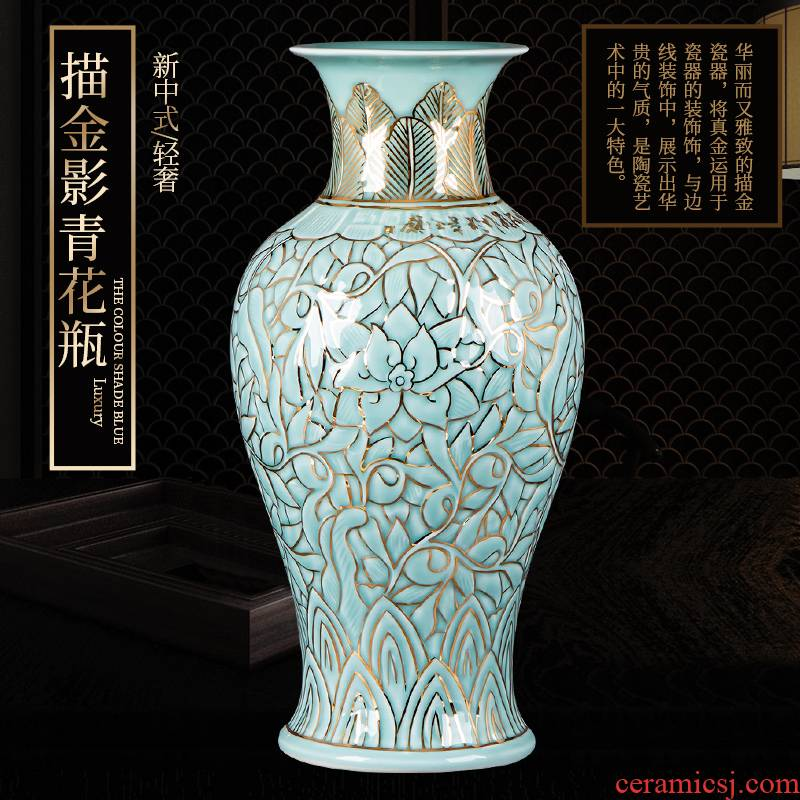 Jingdezhen ceramic vase hand - made paint light vase key-2 luxury furnishing articles of new Chinese style living room TV cabinet rich ancient frame porcelain