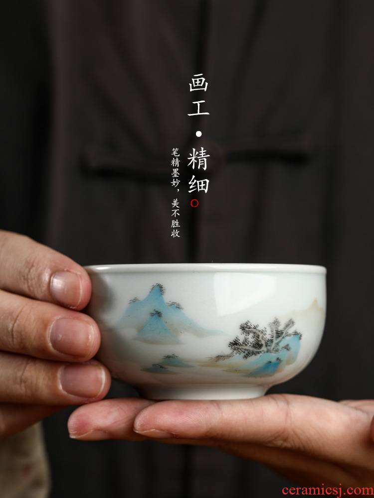 Hand - made scenery was master cup single CPU jingdezhen checking sample tea cup single kung fu ceramic cups of tea light