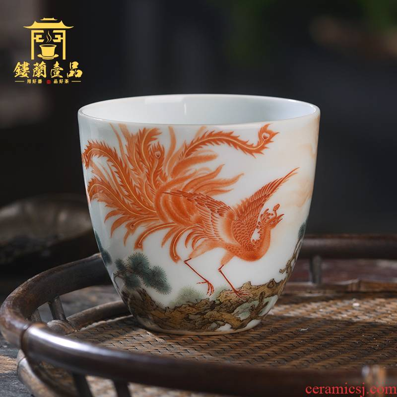 Jingdezhen ceramic hand - made famille rose red phoenix in morning sun masters cup from the large single cup sample tea cup tea cup