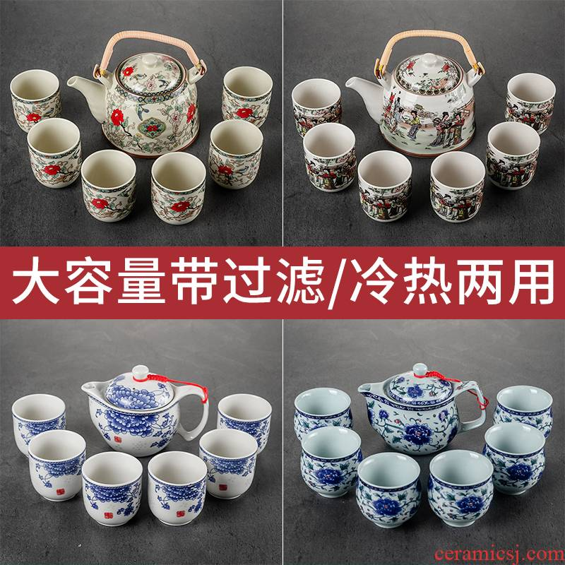 Hui shi retro high - capacity ceramic teapot creative household girder pot of large wine hotel cold cold tea kettle