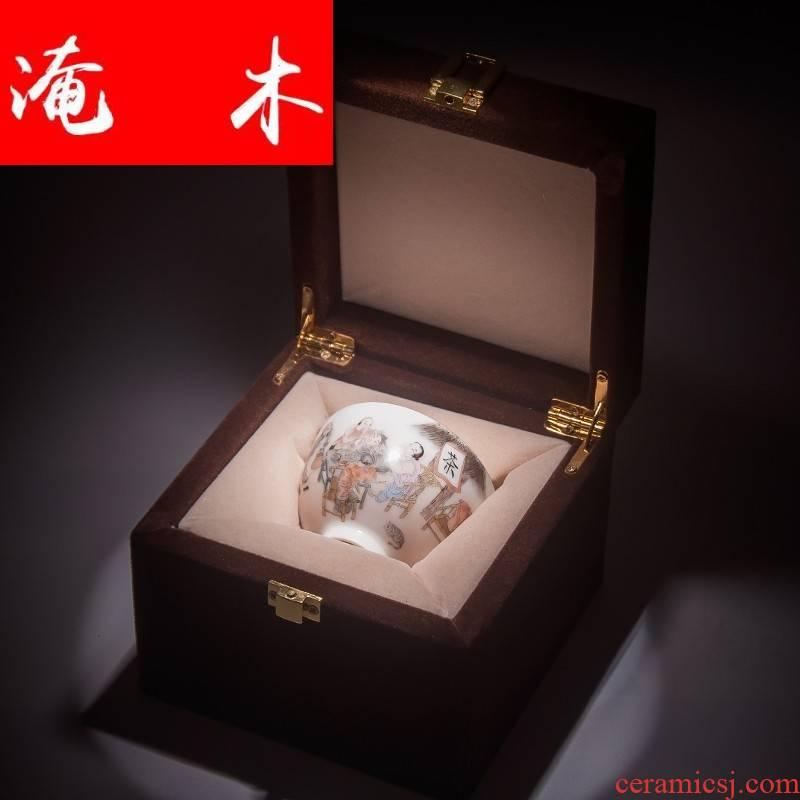 Flooded hand - made wooden jingdezhen ceramics powder enamel bucket cup tea house mingyuan tea cups master cup kung fu tea set