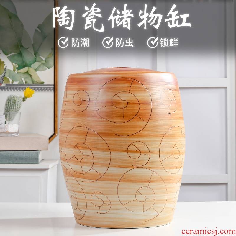 The Qing jingdezhen ceramic barrel rice bucket 10 jins home tea insect - resistant seal storage bins with cover