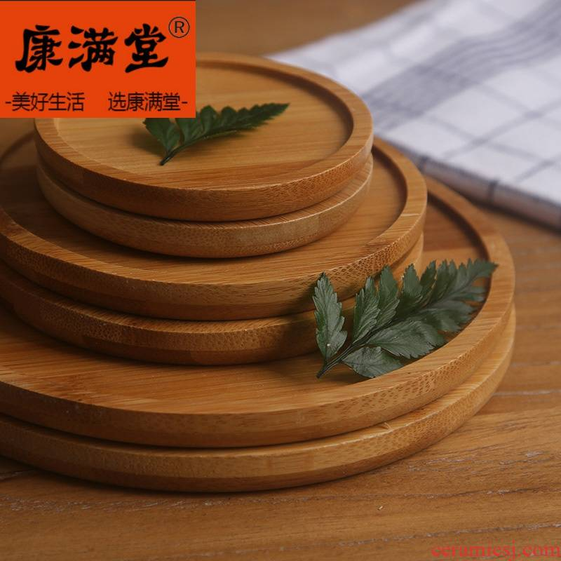 Flower pot tray bottom water pans round square base chassis basin backstops wooden wooden fleshy bamboo pallets