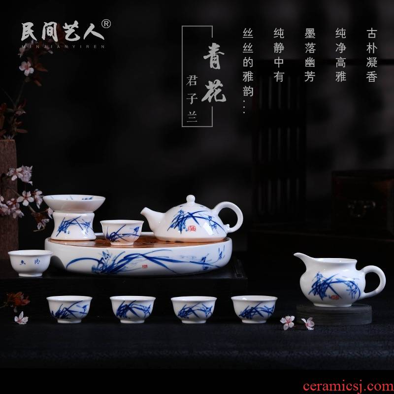 Jingdezhen kung fu tea sets manual hand - made with tea tray of a complete set of ceramic tea set bag, gift box packaging