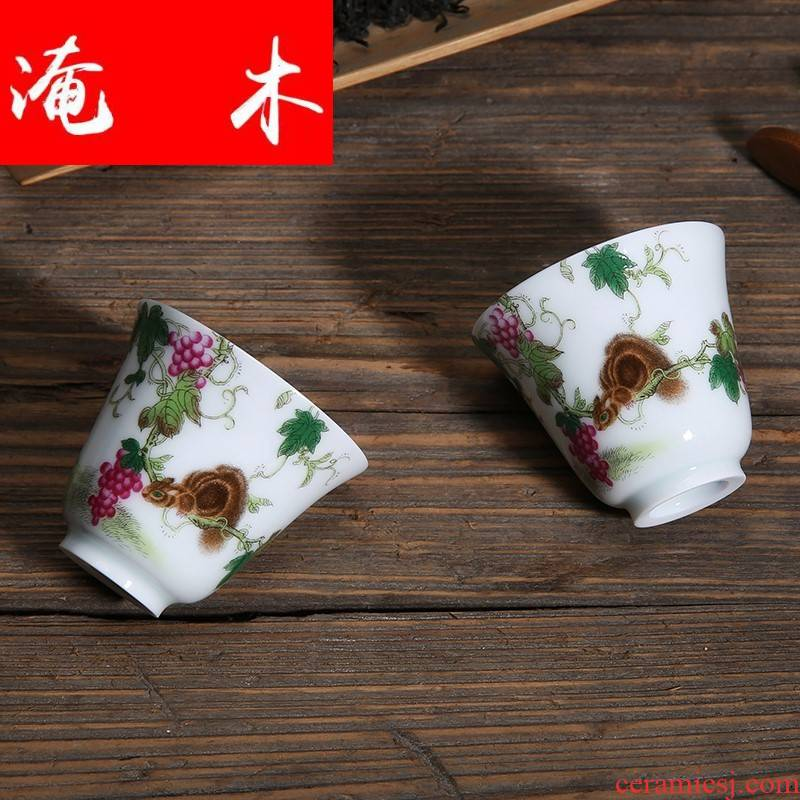 Submerged wood jingdezhen enamel pastel color ceramic sample tea cup kung fu tea tea cup master cup single cup. A bell