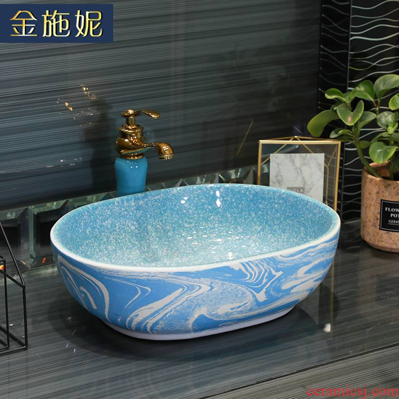 Basin of northern Europe on household square shape toilet lavabo single Basin ceramic multicolor lavatory pool balcony Basin