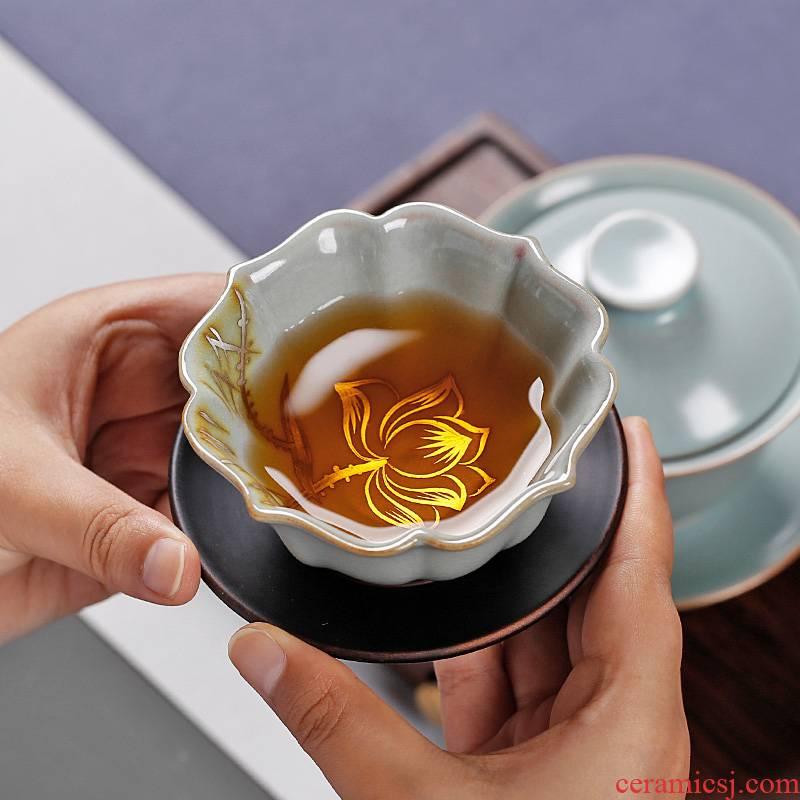 Ru up market metrix who tea cup single cup large ceramic sample tea cup single open piece of ice to crack glaze kung fu tea cup
