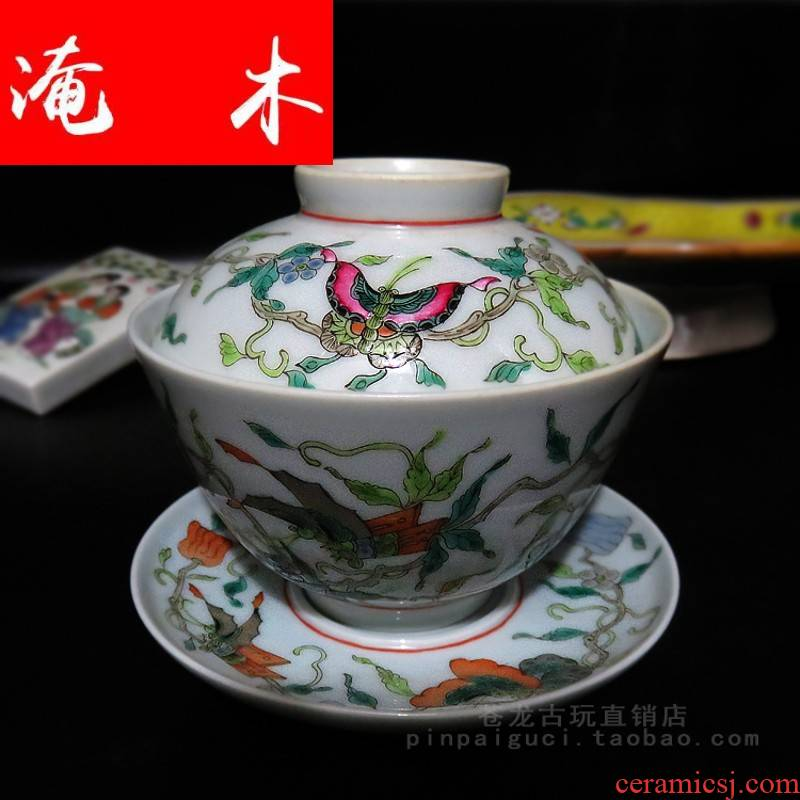 Flooded tureen jingdezhen ceramics manual hand - made wooden pastel big white melon butterfly only three tureen bowl tea cups
