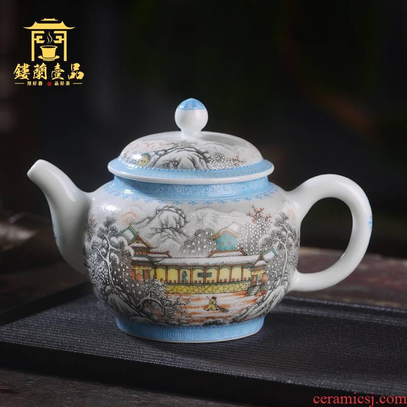 Jingdezhen ceramic whole drawing landscape expression teapot side powder color ink and kung fu tea tea, household single pot