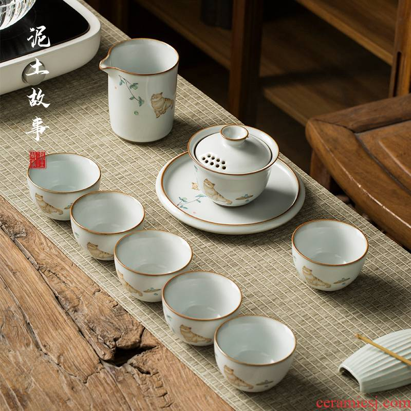 Your up kung fu tea sets the teapot tea tureen household contracted ceramic office Chinese wind modern living room