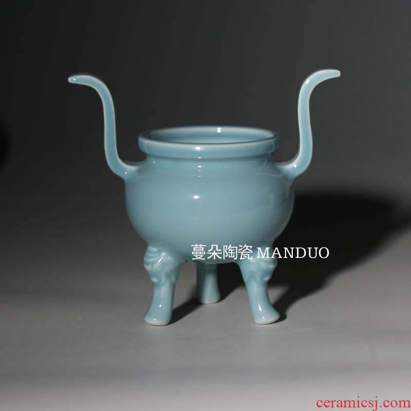 Elegant porcelain incense buner occupy the high - end home small censer fine porcelain present pure color incense buner