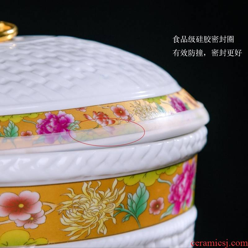 Qiao mu jingdezhen ceramic ricer box barrel storage bins with cover seal insect - resistant moistureproof ricer box kitchen flour cylinder
