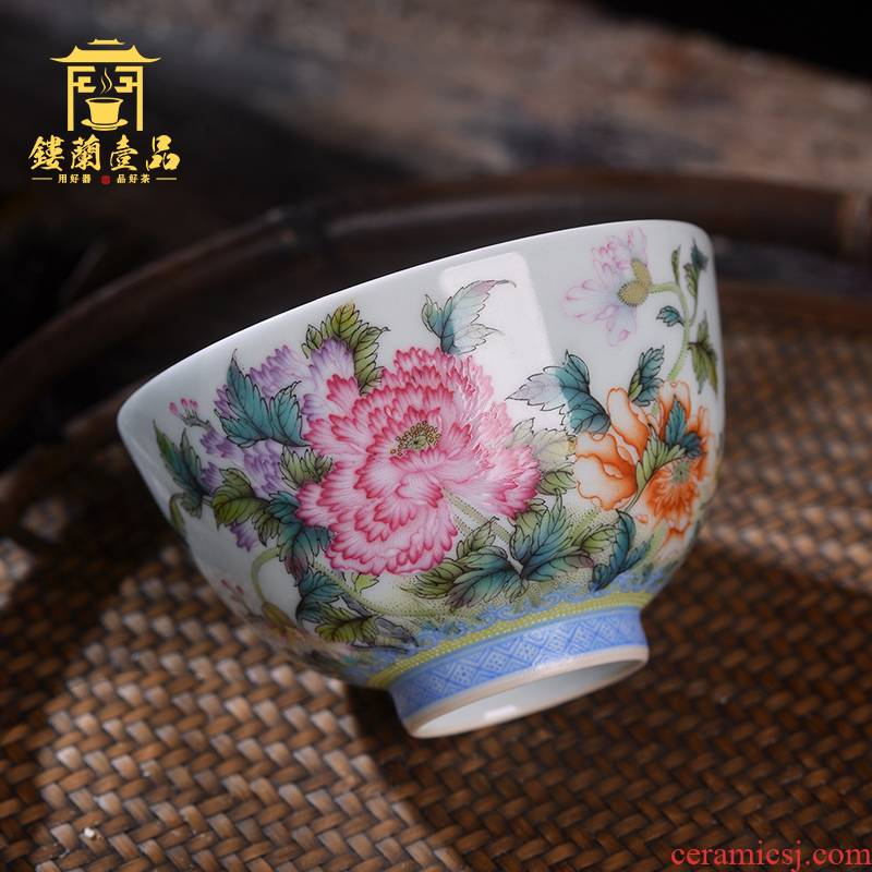 Jingdezhen ceramic all hand - made pastel by masters cup kung fu tea set sample tea cup full personal single cup tea cup