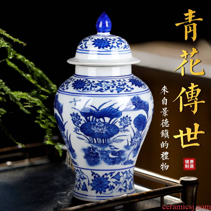 Jingdezhen ceramics archaize general storage tank jar airtight canister caddy fixings household act the role ofing is tasted furnishing articles in the living room