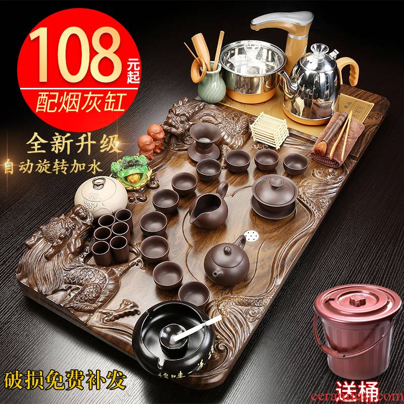 Hui shi kung fu tea set tea tray was solid wood household automatic contracted sitting room office ceramic teapot