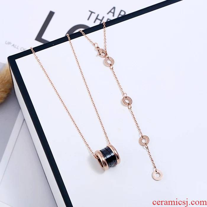 YN titanium steel necklaces women don 't rub off hot style in South Chesapeake rose gold collar ipads chain contracted student' s joker ceramic items