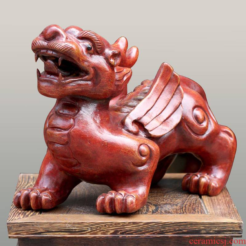 Jingdezhen violet arenaceous animal skins mound the mythical wild animal in the feng shui town house to ward off bad luck, rich ancient frame mesa sitting room of Chinese style furnishing articles