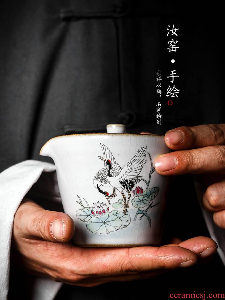 Your up tea tureen prevent hot tubas catch a pot of jingdezhen ceramic hand - made cranes lotus kung fu tea cups